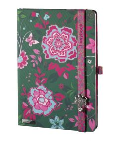 Notes A5 Lanybook Flowers Beauty w kratkę zielony