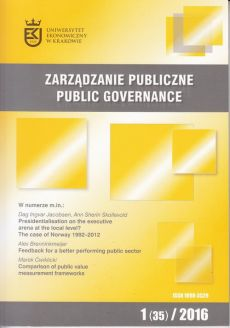 Zarządzanie Publiczne nr 1(35)/2016 - Dag Ingvar Jacobsen, Ann Sherin Skollevold: Presidentialisation on the executive arena at the local level? The case of Norway 1992–2012
