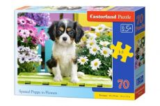 Puzzle Spaniel puppy in Flowers 70