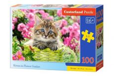 Puzzle Kitten In Flower Garden 100