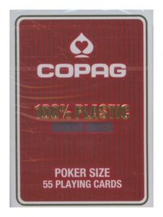 Karty do gry Copag 100% Plastic Poker size Jumbo Index czerwone