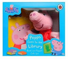 Peppa Pigg Goes to the Library Book and Puppet Gift Set - Eric Carle